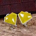 Урожай желтый Халцедон серебро 925 серьги стержня brincos pendientes форме сердца природный камень топаз стерлингов-серебро-ювелирные изделия