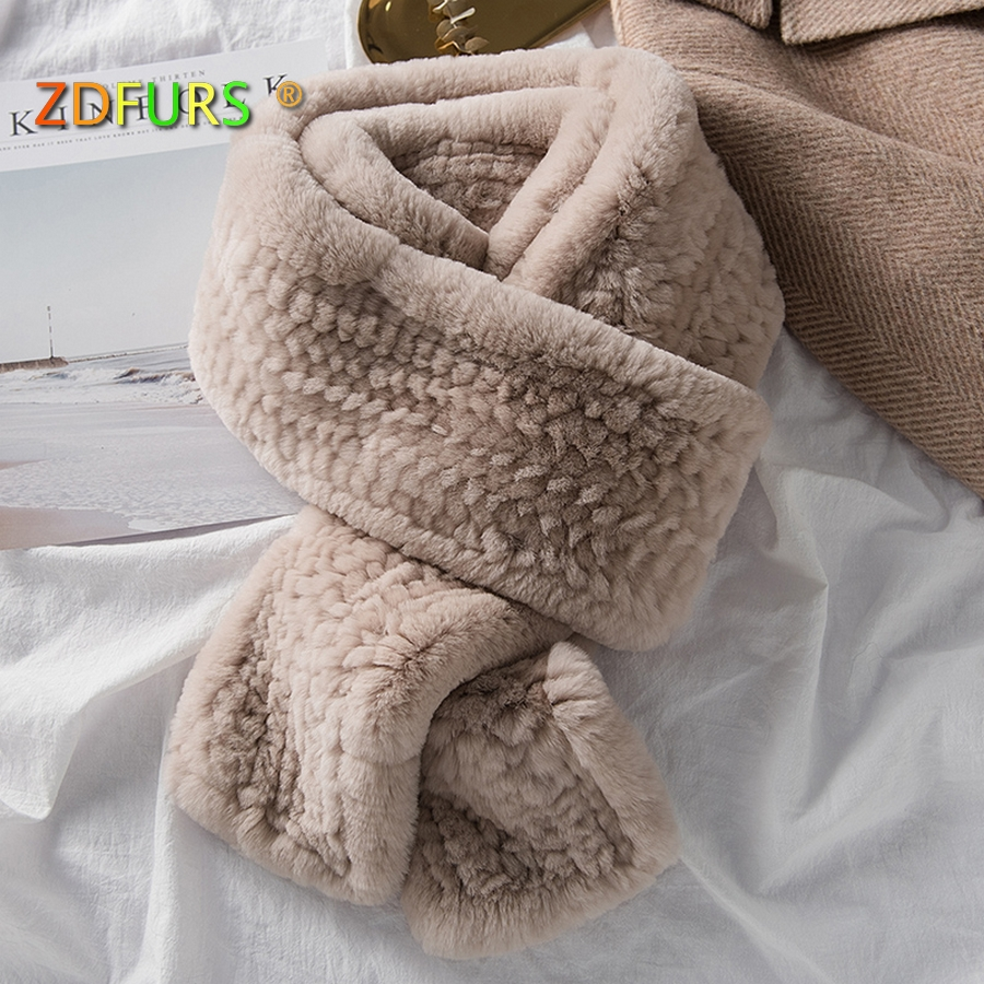 ZDFURS * женский шарф из натурального меха высокого качества Роскошный Большой Длинный натуральный мех кролика рекс шарфы толстые теплые зимн...