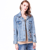 2018 New Fashion Brand Embroidery Cardigan Denim Jackets Women Slim BF Plus Size Spring Autumn Denim Coat Girls Outerwear A340