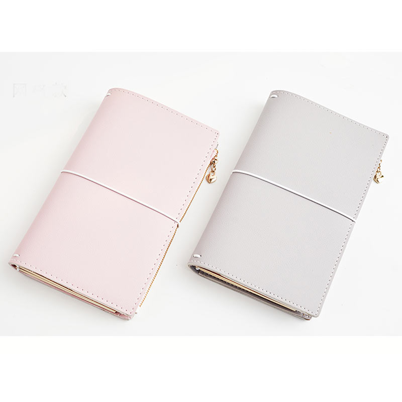Yiwi Creative Candy PU Leather Traveler's Notebook travel Diary Journal Vintage Handmade Gift Traveler With Gird And Zip