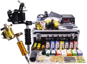 makeup machine digital 2 guns complete tattoo machine set complete body piercing kit large case