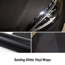 size:1.52x30m Car Styling Glitter Vinyl Film for car vinyl wrapping Matt black Sanding glitter vinyl wrap Classic upgrade glue