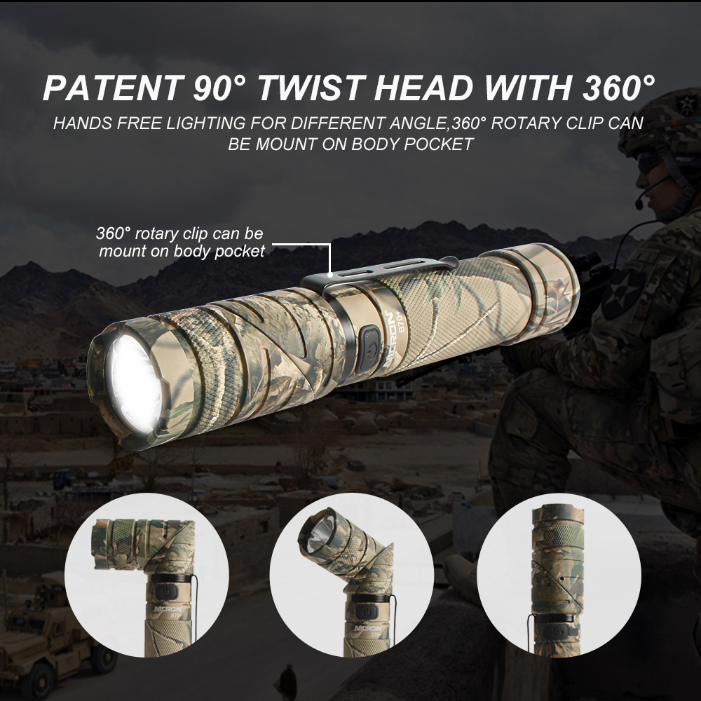 Image 4 - NICRON 3 Color Light 90 Degree Camo Rechargeable Twist Flashlight With 360 Rotary Clip 18650 Waterproof 950LM LED Torch B70 Plus-in LED Flashlights from Lights & Lighting