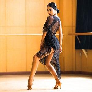 Image 4 - Yeni Latin Dans Elbise Siyah Örgü Saçaklı Elbise Cha Cha Salsa Samba Karnaval Kostümleri Bayanlar Uygulama Performans Giyim DNV10190