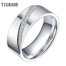 6mm/8mm Mens Womens Silvery Cubic Zirconia Inlay Eternity Ring Titanium Matching Set Wedding Band