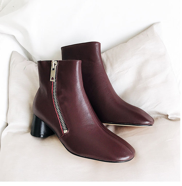 Side Zipper Roman Style Chic Med Heel Short Booties Brand Leather Trendy Women Ankle Boots Chaussures Femmes Round Toe Shoes