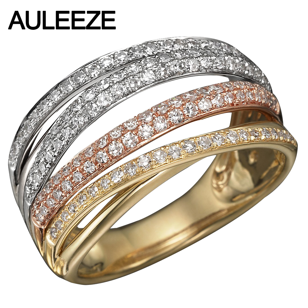 Lab Grown Diamond Tricolor Gold Matching Band 10K Solid White Rose Yellow Gold Wedding Enternal Engagement Ring Moissanites Band