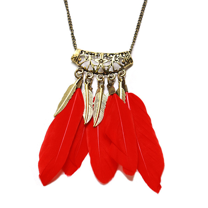 Vintage Boho Large Feather Leaf Tassel Necklace Pendant Retro Gold Ethnic Openwork Carved Long Sweater Chain Female