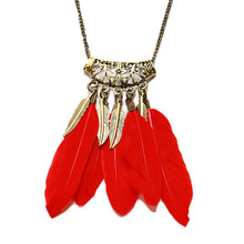 Vintage Boho Large Feather Leaf Tassel Necklace Pendant Retro Gold Ethnic Openwork Carved Long Sweater Chain Necklace Female цена