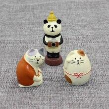Decole Cat Granny Fat Panda Miniature figurines Japan Zakka Animal statue Home Decoration Garden Resin craft toy Ornaments