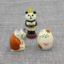 Decole Cat Granny Fat Cat Panda Miniature figurines Japan Zakka Animal statue Home Decoration Garden Resin craft toy Ornaments(China)