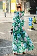 Urumbassa women long sleeve bohemian dress 2018 spring runways green leaf print elegant dress Fashion slim belted chiffon dress eyes print belted dress