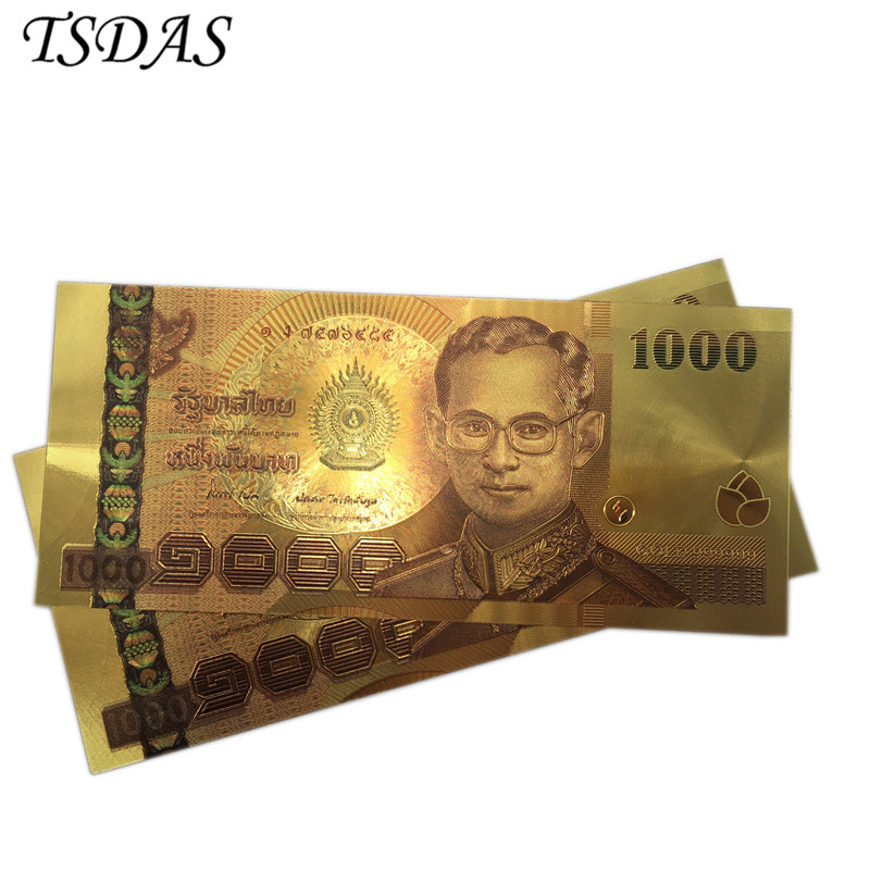 10pcs/lot 24K Color Thailand 1000 Baht Gold Foil Banknote in Plated Banknotes For Collection