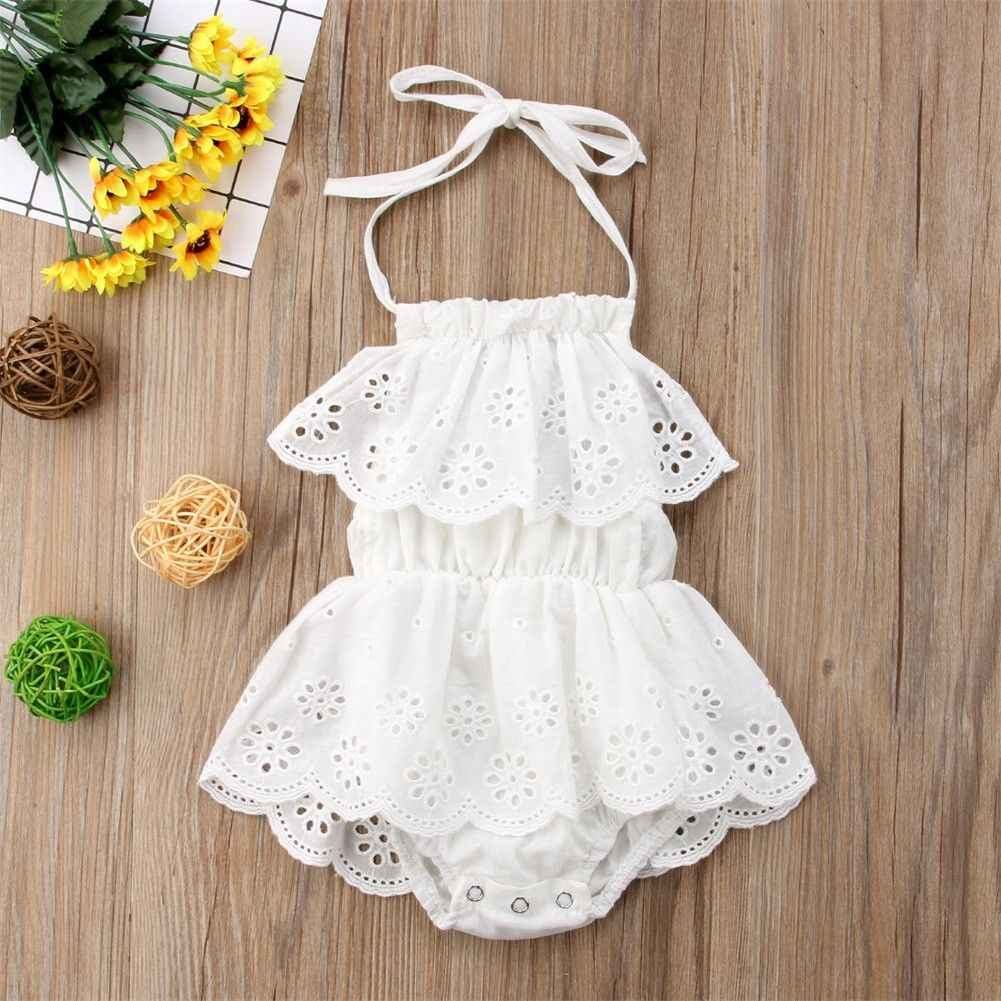 Neugeborenen Baby Mädchen Solide Floral Body Kleid Overall Outfit Sonne Anzug Kleidung