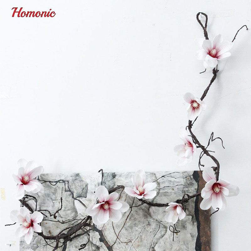 Kunstlill Magnolia Silk Fake Lilled Branch boutonniere Flores pulmade - Pühad ja peod - Foto 4