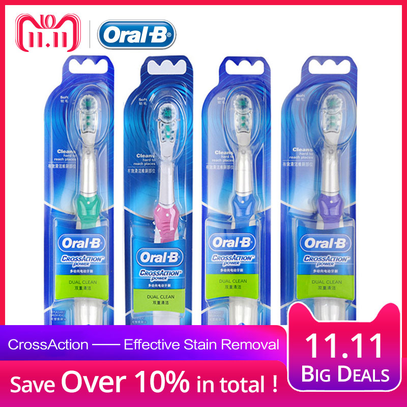 Oral B Cross Action Electric Toothbrush for Adults Deep Clean Teeth Whitening Power Teeth Brush+ 2 Replaceable Tooth Brush Heads цена и фото