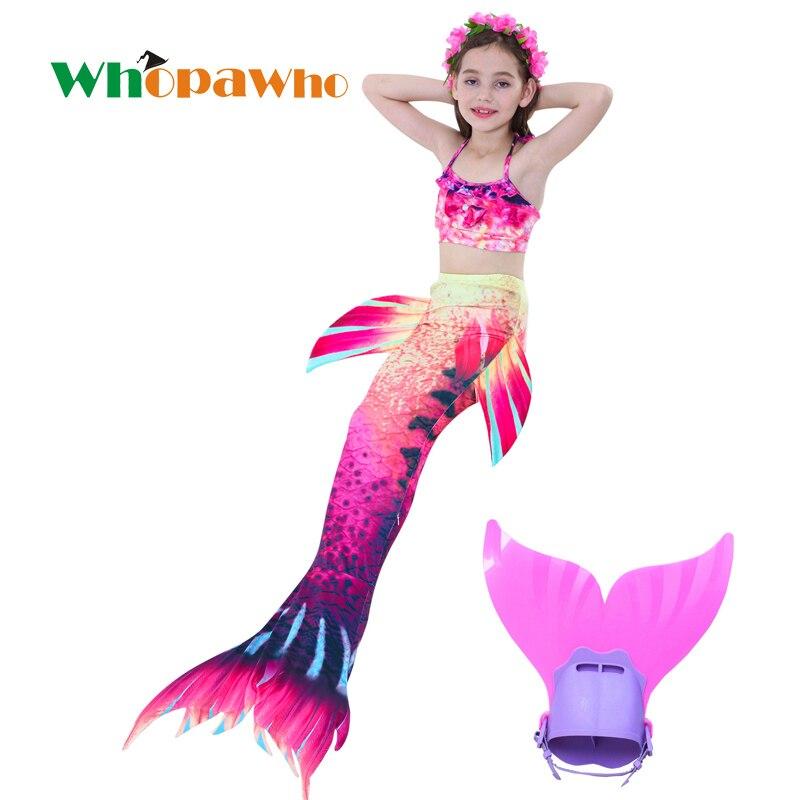Halloween Ariel queue de sirène natation queue de sirène avec Flipper Bikini filles enfants nagable queue de sirène Costume Cosplay