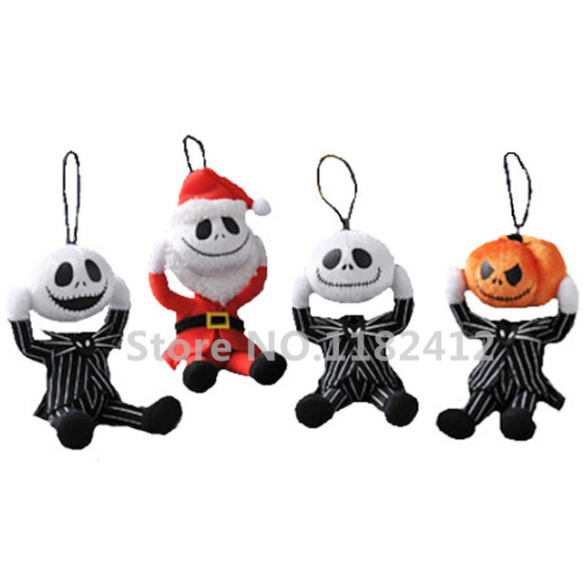 nightmare before christmas remove head jack skellington plush keychains key chain small pendant kids toys for