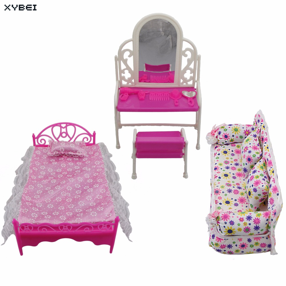 3 Items/Lots = 1x Doll Bed Furniture + 1x House Dressing Table + 1x Flower Cloth Sofa For Barbie Doll Accessories Birthday Toy
