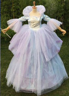 Fast Shipping Custom Made Adult Women Oneline Fairy Godmother Dress Wig Cosplay Long Blue Cinderella Fairy