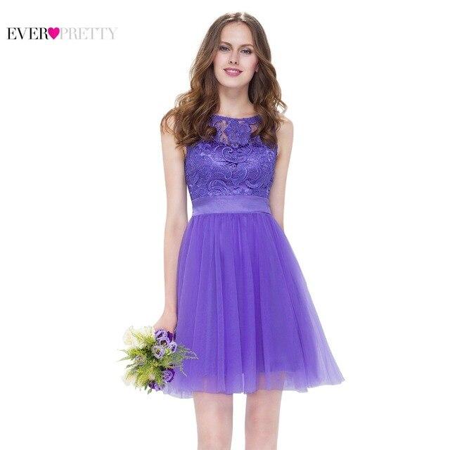 c74fb41f2d7 Corto Lila vestidos de dama de honor púrpura bonito de encaje de las mujeres  elegante EP05496PW