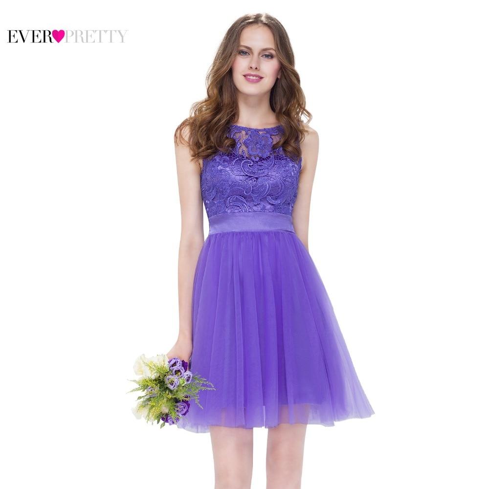 Short Lilac Bridesmaid Dresses Purple Ever Pretty Lace Women Elegant EP05496PW Round Neck Sleeveless 2017 Wedding Party Dress