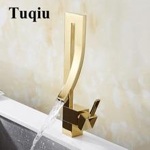 Смеситель для раковины золотой Латунный Кран квадратный кран для раковины ванной комнаты с одной ручкой на бортике туалетный смеситель горячей и холодной воды водопроводный кран
