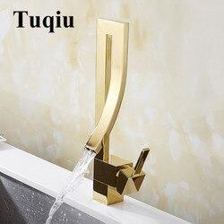 Смесители для умывальника золотой Латунный Кран квадратный кран для раковины для ванной комнаты с одной ручкой на бортике туалетный смесит...