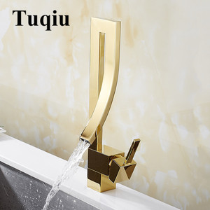 Basin Faucets Gold Brass Faucet Square Bathroom Sink Faucet Single Handle Deck Mounted Toilet Hot And Cold Mixer Water Tap(China)