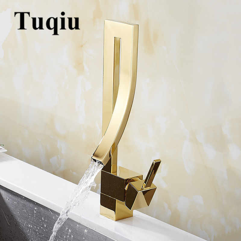 Baterie umywalkowe złoty mosiężny kran kwadratowy umywalka do łazienki kran pojedynczy uchwyt Deck Mounted toaleta mieszacz ciepła/zimna woda z kranu