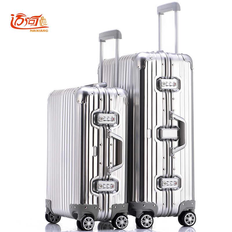 100% полностью Алюминий-магниевого сплава путешествия багаж 20 25 дюймовый  Женский Мужской чемодан c69b53cbec7