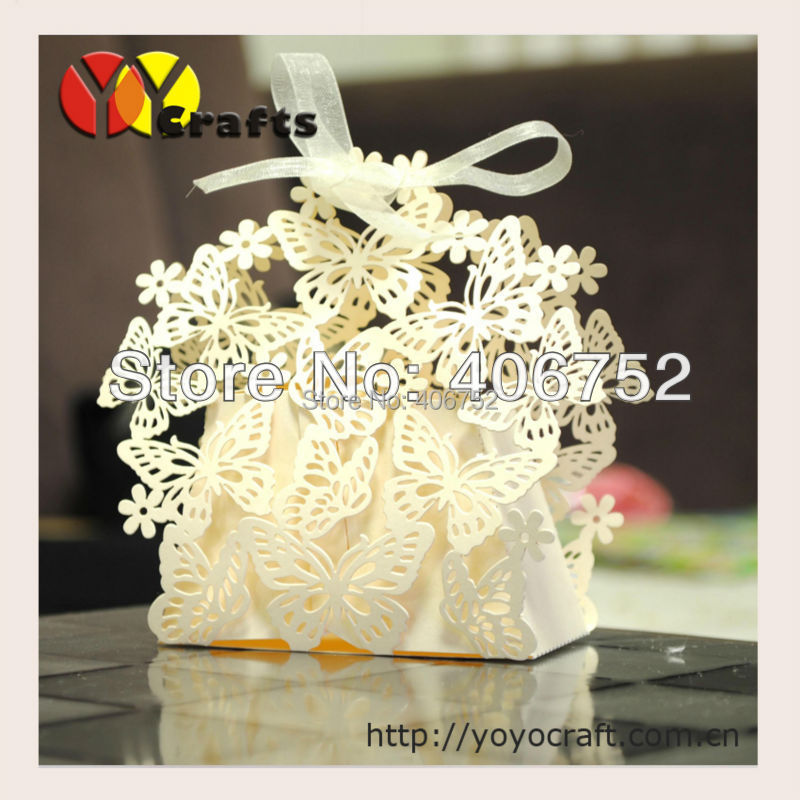 wedding cake boxes wedding accessory butterfly ivory orange ...
