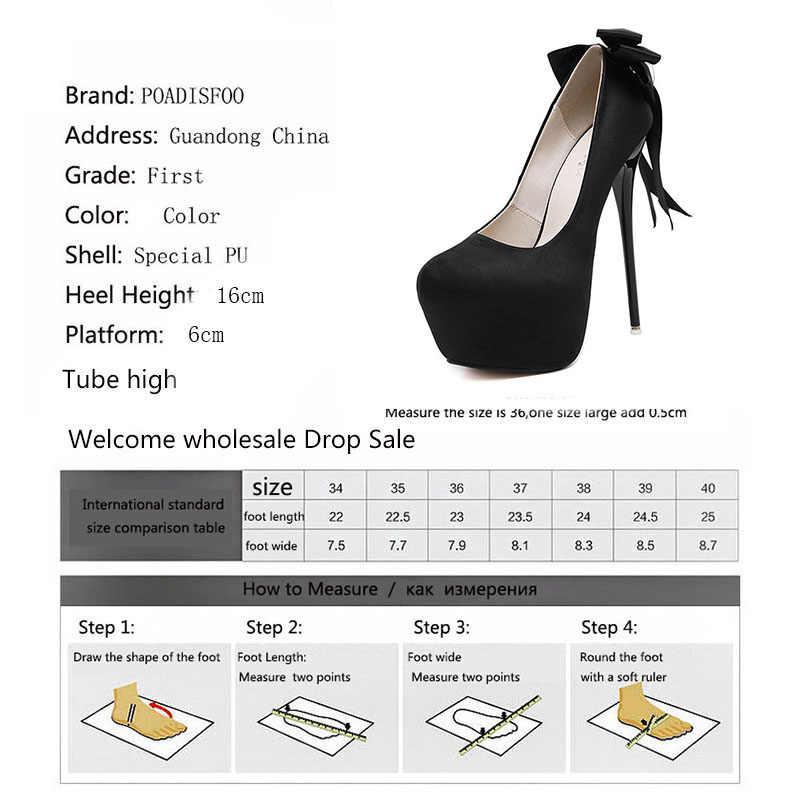 LTARTA 2019 16 cm Kadın pompaları yuvarlak Ayak Seksi Saten Büyük Yay Dekorasyon Ince Yüksek Topuk tek ayakkabı kadın ayakkabısı CWF-my258-52