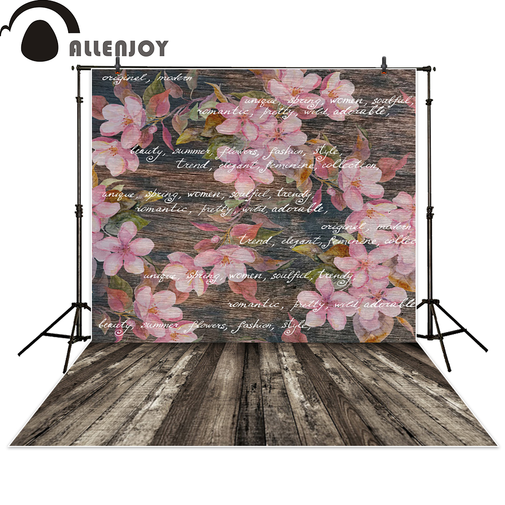 Allenjoy photography backdrop flower wall wood letter vintage background photo studio fantasy photocall photographic