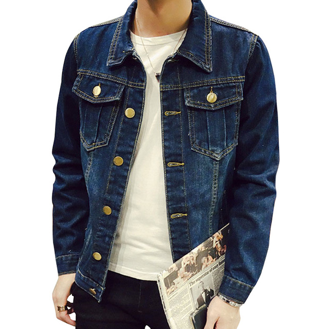 d82cb54278 New Spring autumn Denim jacket men Casual slim Jean Jacket Coat long sleeve  Fashion Single-breasted clothing Plus size 5XL L581