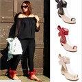 Verão 2016 de Moda de Nova Retro Big Bowtie Sandálias Sapatos Flats Mulheres Sapatos de verão Com Sandálias das Mulheres para a Festa de Praia Chinelo 35-40