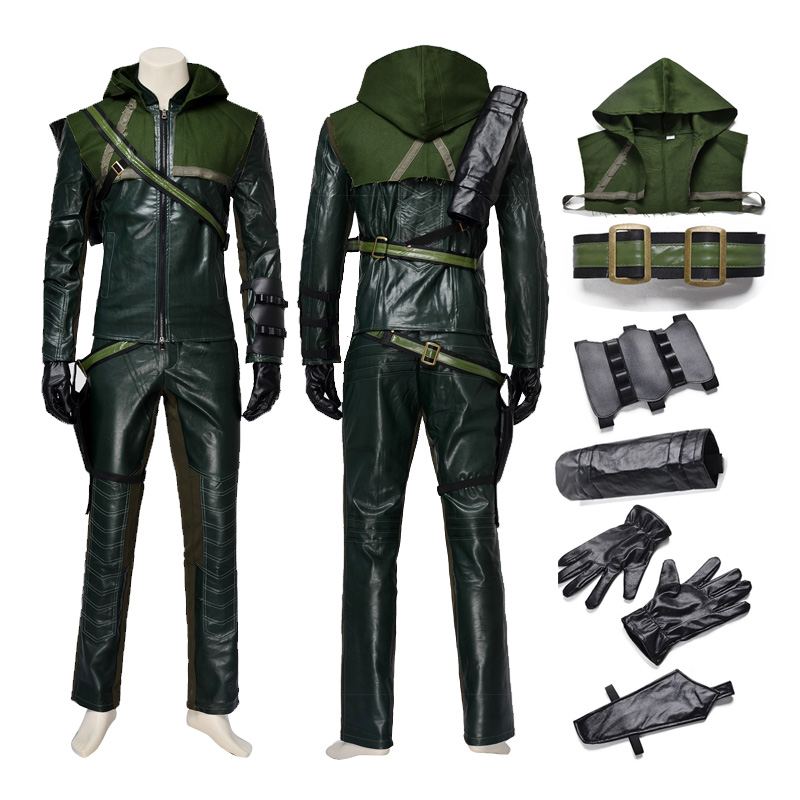 Green Arrow Season One Oliver Queen Cosplay Costume Adult Man For Halloween Party Superhero Uniform Leather
