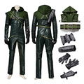 Green Arrow Season one Oliver Queen Cosplay Costume For Adult Man Halloween Party Superhero Uniform Leather Hoodie Outfit