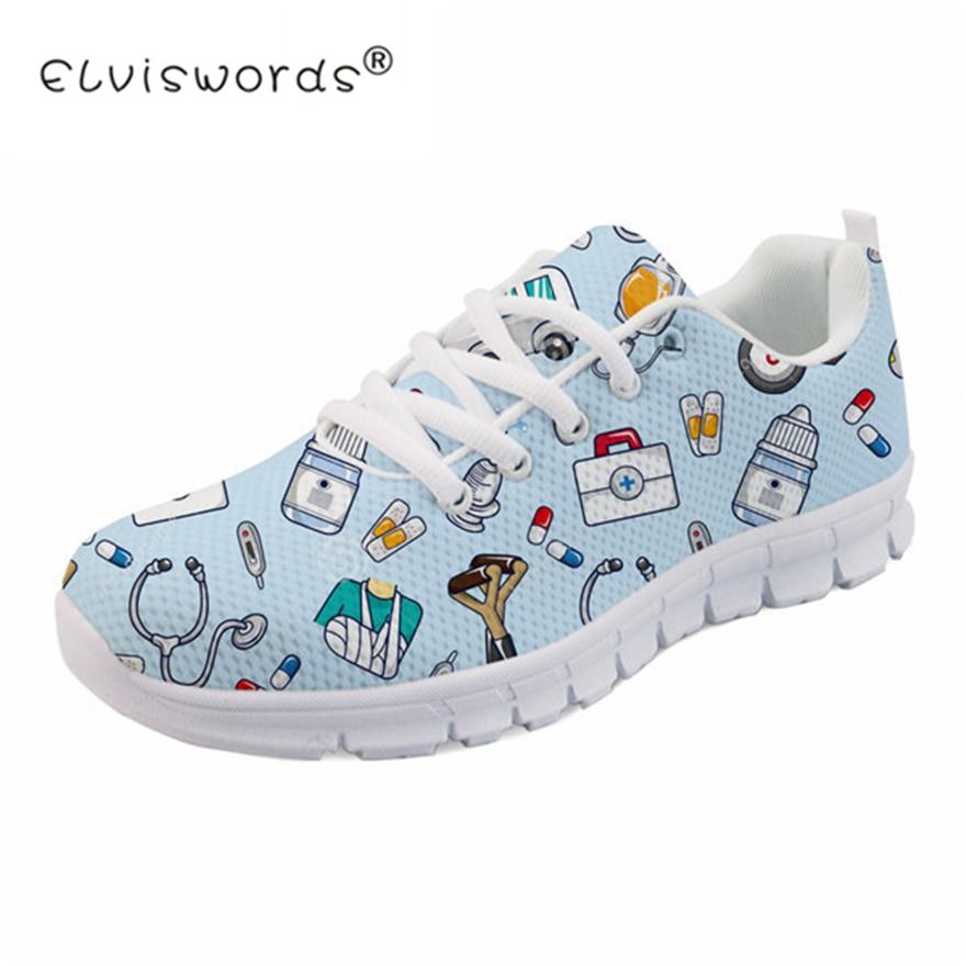 135daeb4e745 ELVISWORDS Spring Nurse Flat Shoes Women Cute Cartoon Nurses Printed  Women's Sneakers Shoes Breathable Mesh Flats