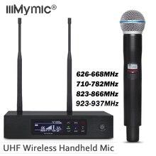 Истинное разнообразие UHF беспроводная система QLXD4! Профессиональный одиночный ручной микрофон Микрофон 58A с металлический чехол для сцены