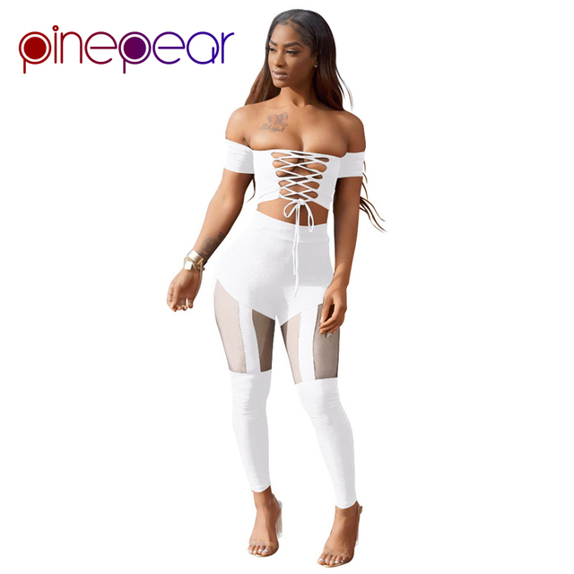 PinePear Nightclub Outfits 2019 New Sexy Bandage 2 Pieces Set Lace Up Crop  Top + Mesh Skinny Pants Celebrity Club Overalls f0248dfe1c25