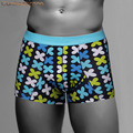 Environmental Dyeing Print Men's Boxers Underwear Elastic Shorts Brand Cuecas Pull In Underpants Solid Male Panties 6072