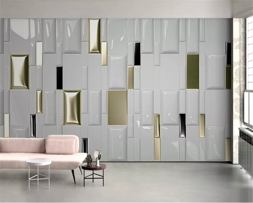 beibehang Decorative painting 3d wallpaper modern fashion gold checkered geometric soft pack background wall papers home decor in Wallpapers from Home Improvement