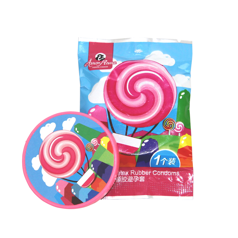 Buy Creative Condoms Pink Lollipop Condoms Adult Supplies Safety Creative Natural Latex Condoms  Adult fun supplies 1pieces / lot
