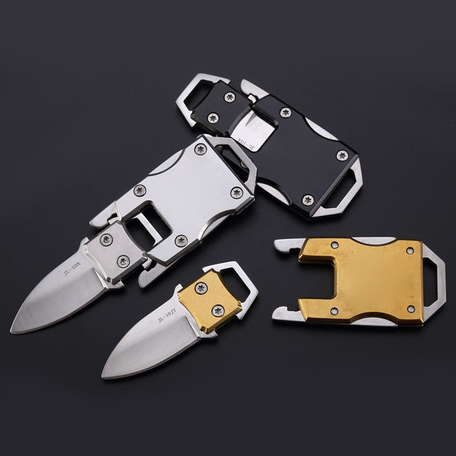 Mini Pocket Foldable Stainless Steel Knife with Keychain Outdoor Sports Camping Hiking Hunting Survival Self Defense Supplies