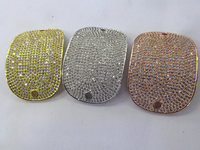 AA+ micro pave Diamond Crystal Micro Crystal Pave CZ rectanlge curved bracelet connetor Jewelry beads 30x40mm 2pcs