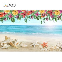 Laeacco Tropical Sea Beach Starfish Shell Sand Flower Wreath Party Photo Backgrounds Photography Backdrops For Studio Shoot