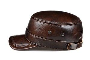 Image 5 - RY0108 gorras de béisbol planas de piel auténtica para hombre, gorras de béisbol planas en color negro/marrón, de 54 62 cm, tamaño personalizado, para exteriores, Snapback, sombrero de Golf