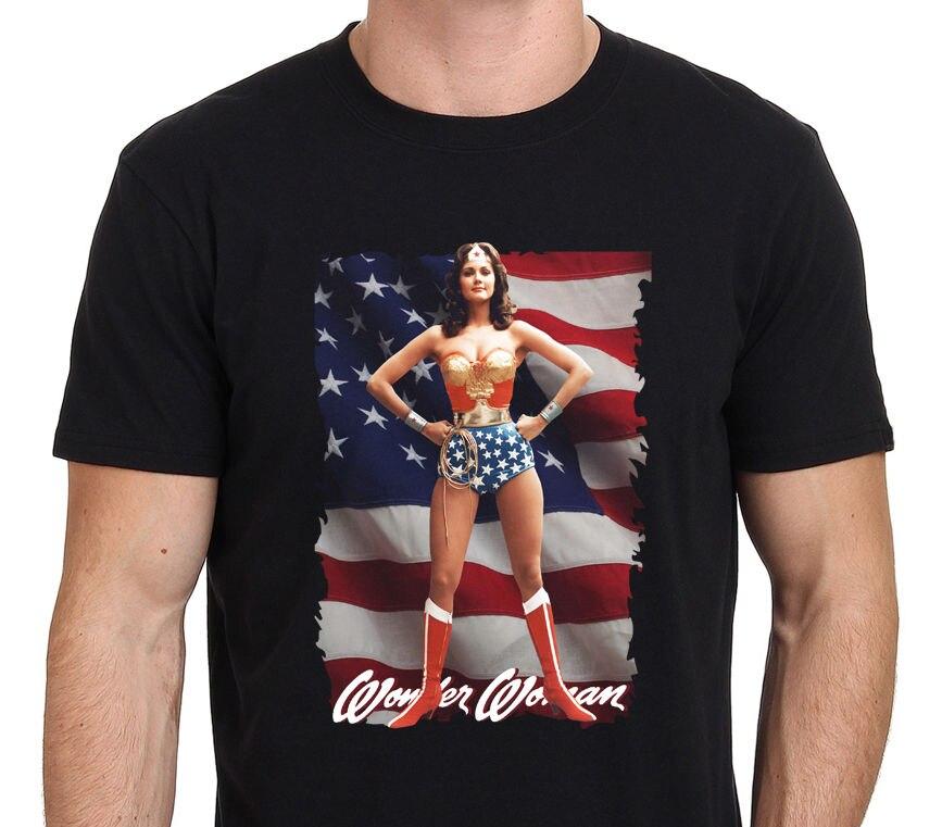 Wonder Woman рубашка Линда Картер Размеры: S-M-L-XL-XXL Мужская футболка 2018 новые модные футболки Slim Fit О-образным вырезом топы, футболки