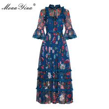 MoaaYina Fashion Designer Runway dress Spring Summer Women Dress Stand collar Lace Ruffles Print Chiffon Dresses